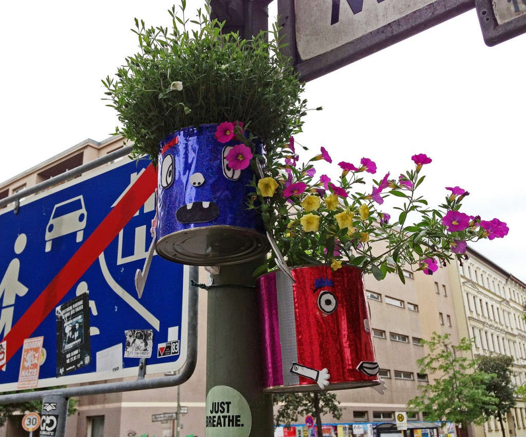 flower pots on a lamppost